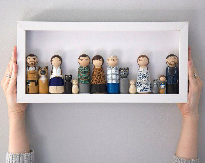Photo of Regalo de Navidad – Regalo para papá – Regalo para mamá – Retrato de familia – Regalo personalizado – Regalo personalizado – Familia Peg Doll – Retrato enmarcado