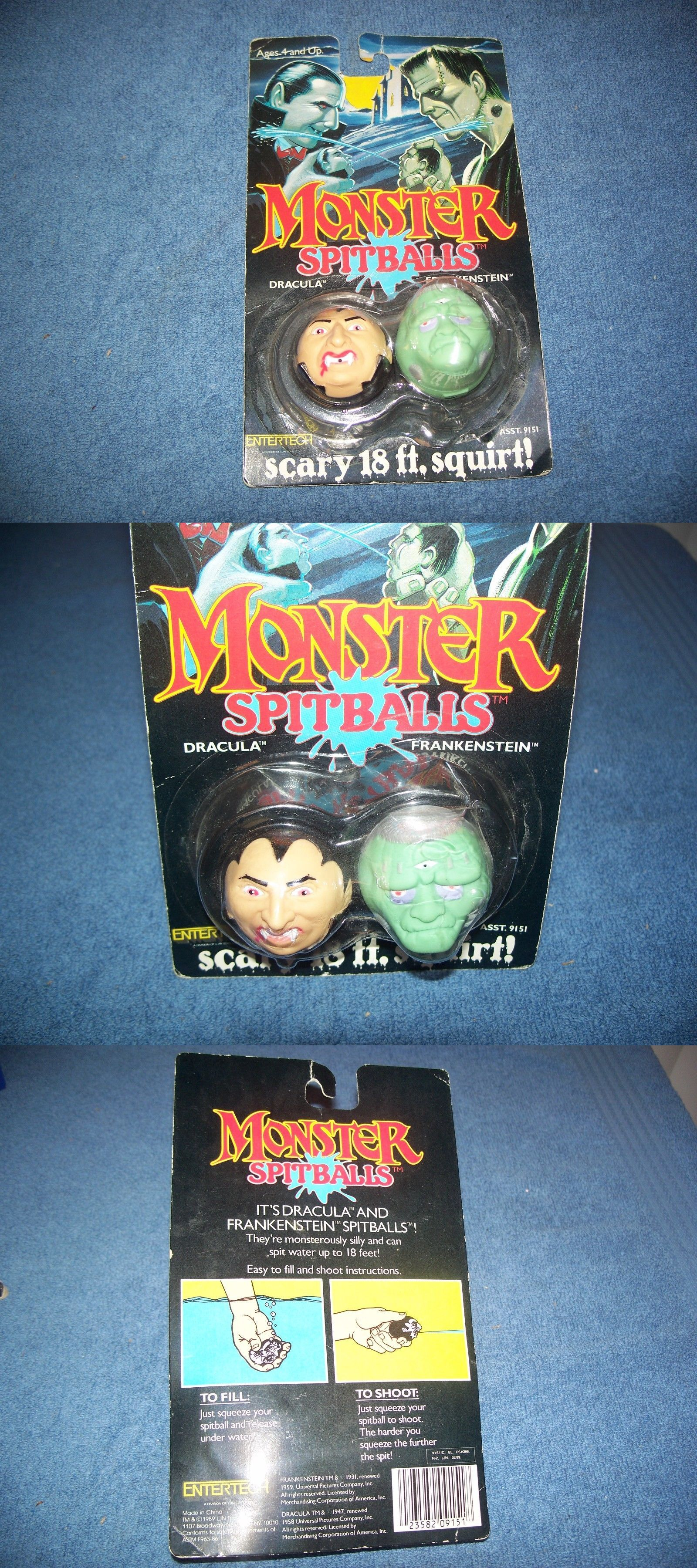 Dracula 19194: 1989 Monster Spitballs Frankenstein And Dracula By Ljn Toys -> BUY IT NOW ONLY: $30 on eBay!