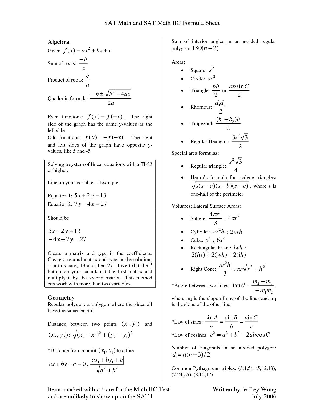Free Book Math Formula Sheet For       Math   Math cheat