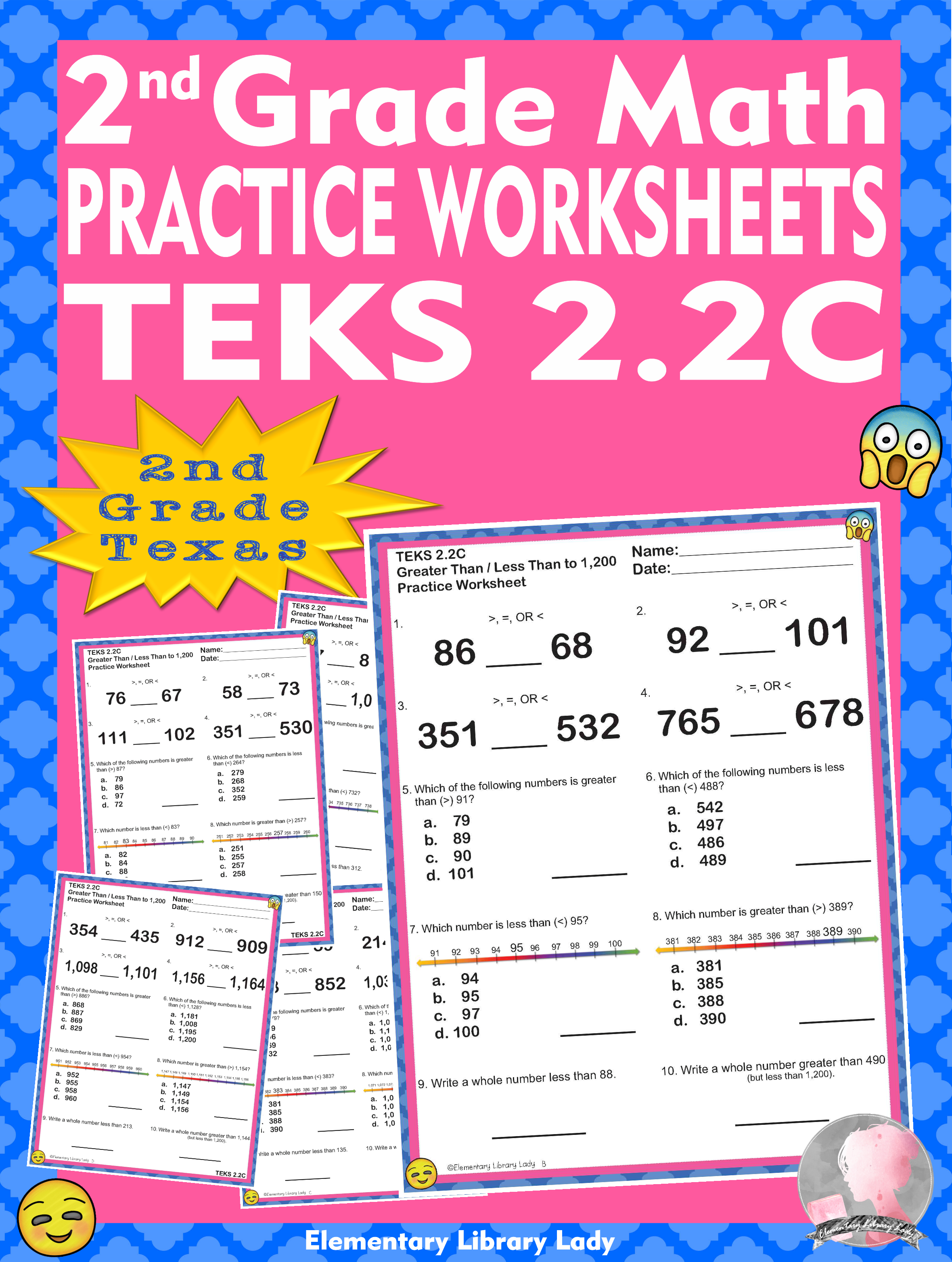 Math Teks 2 2c Texas 2nd Grade Practice Worksheets Greater