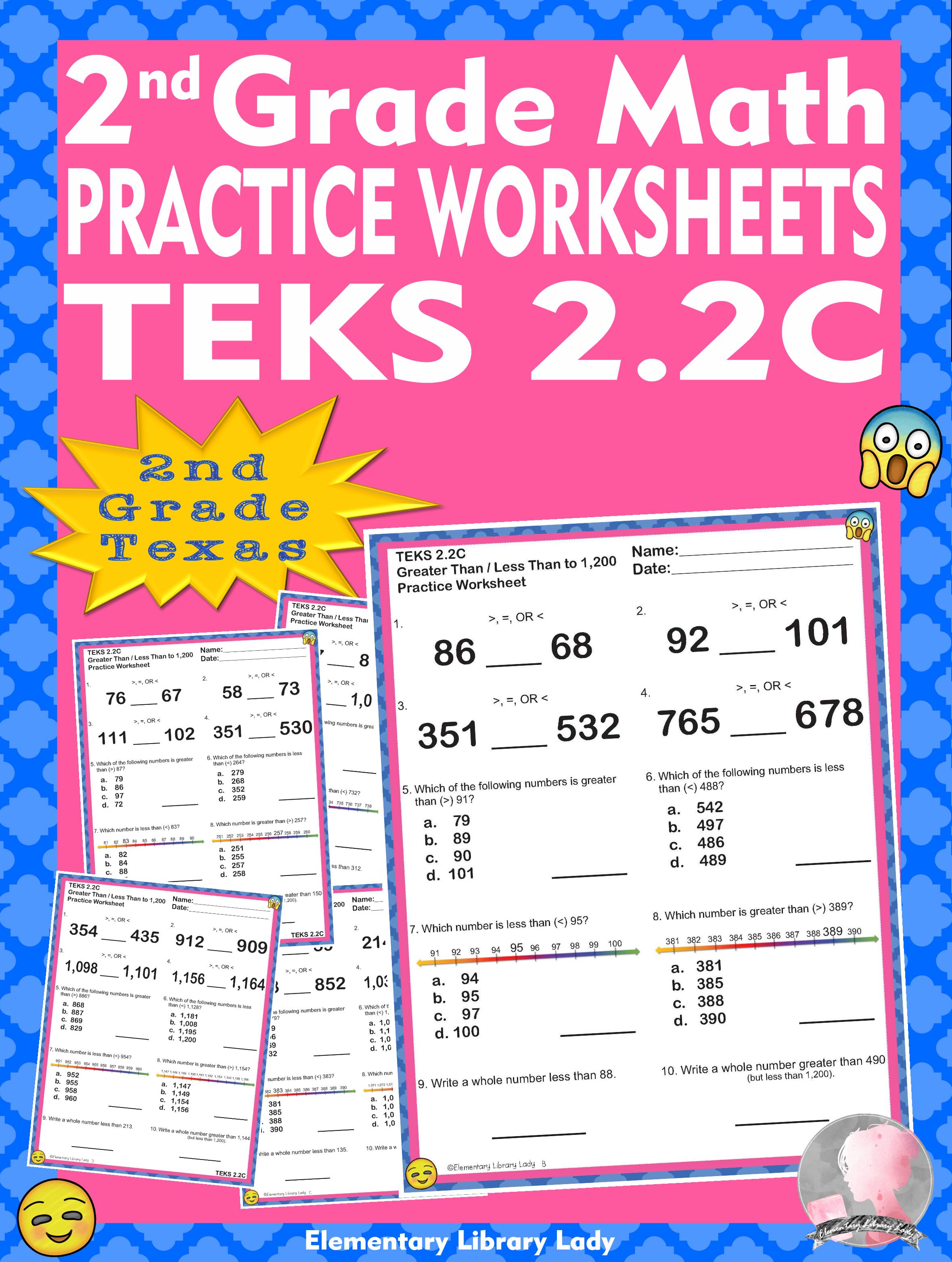 Math Teks 2 2c Texas 2nd Grade Practice Worksheets Greater