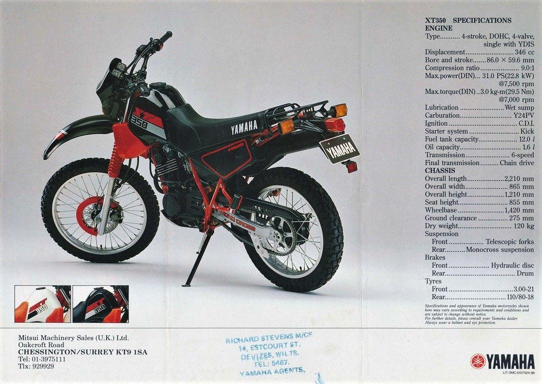 Yamaha XT RetroVintageClassic MOTO Advertising Pinterest