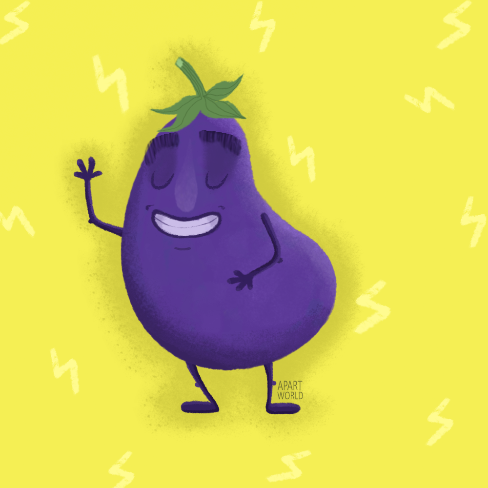 Motivational Eggplant Is Here To Support You Check Out My Portfolio On Instagram Aubergine Eggplant Character Photo And Video Instagram Photo Illustration