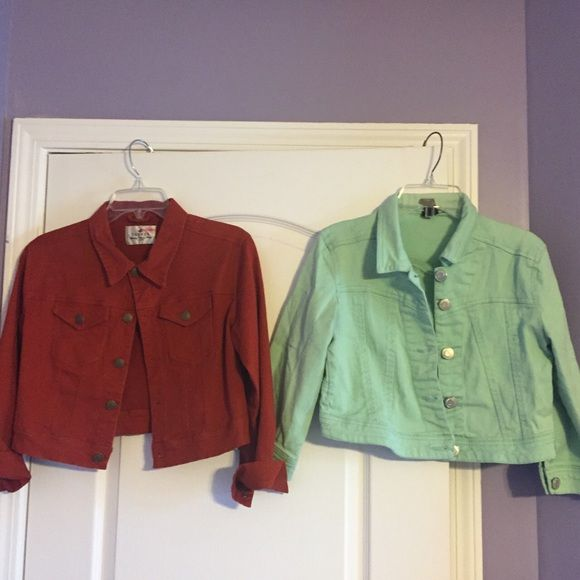 Receive two Jean Jackets Receiving both jackets. Cropped jean jackets The red jacket is a L but a size M can work it as well( : pre-owned. In great condition. Don't worry I'll iron the green one before shipping Rue 21 Jackets & Coats Jean Jackets