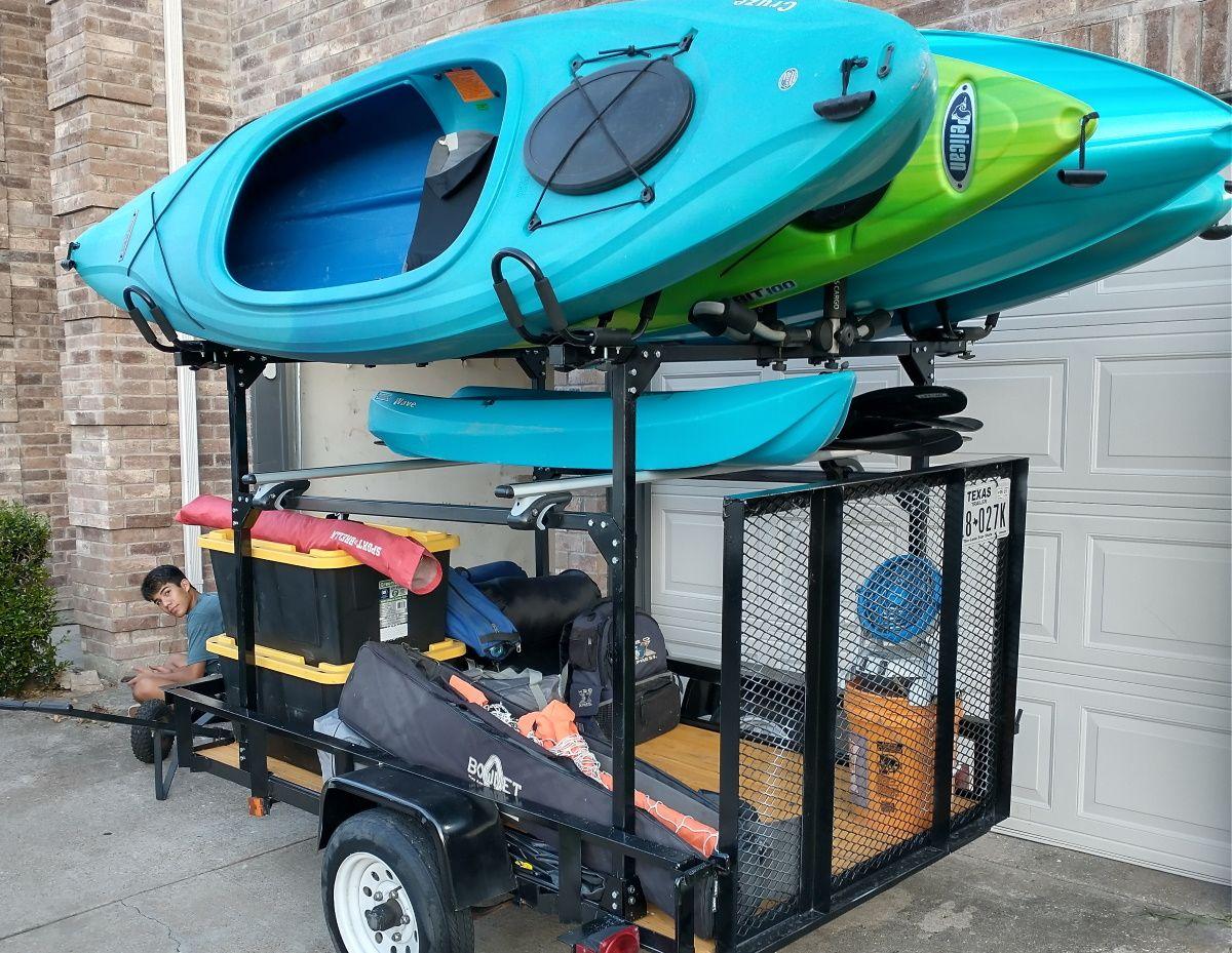 Diy carryon utility trailer kayak racks kayak trailer