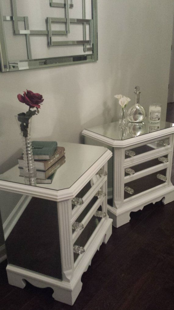 SALE Mirrored Nightstand Set White with Trim Glamorous