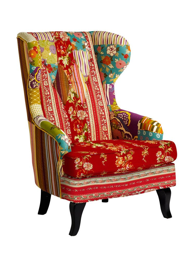 Fauteuil oreilles original en patchwork color chaises et fauteuils pin - Fauteuil crapaud patchwork ...