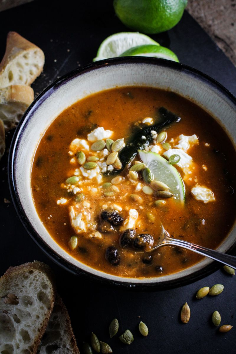 Roasted Poblano and Black Bean Soup {Katie at the Kitchen Door}