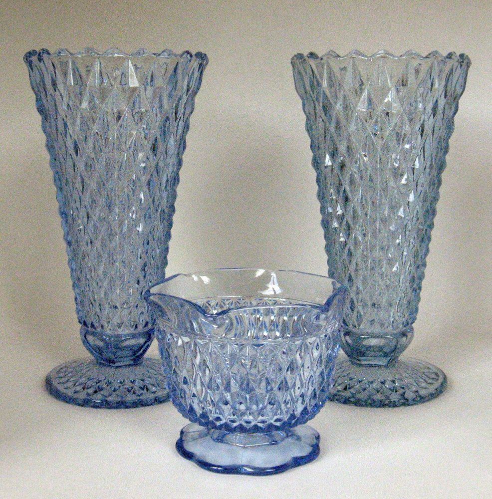 A Beautiful Set of Vintage Indiana Glass Ice Blue Diamond  Point Pattern Vases & Water Pourer Vintage Vases Something Blue Vintage Weddings by MyPastLivesVintage on Etsy https://www.etsy.com/listing/234517495/a-beautiful-set-of-vintage-indiana-glass