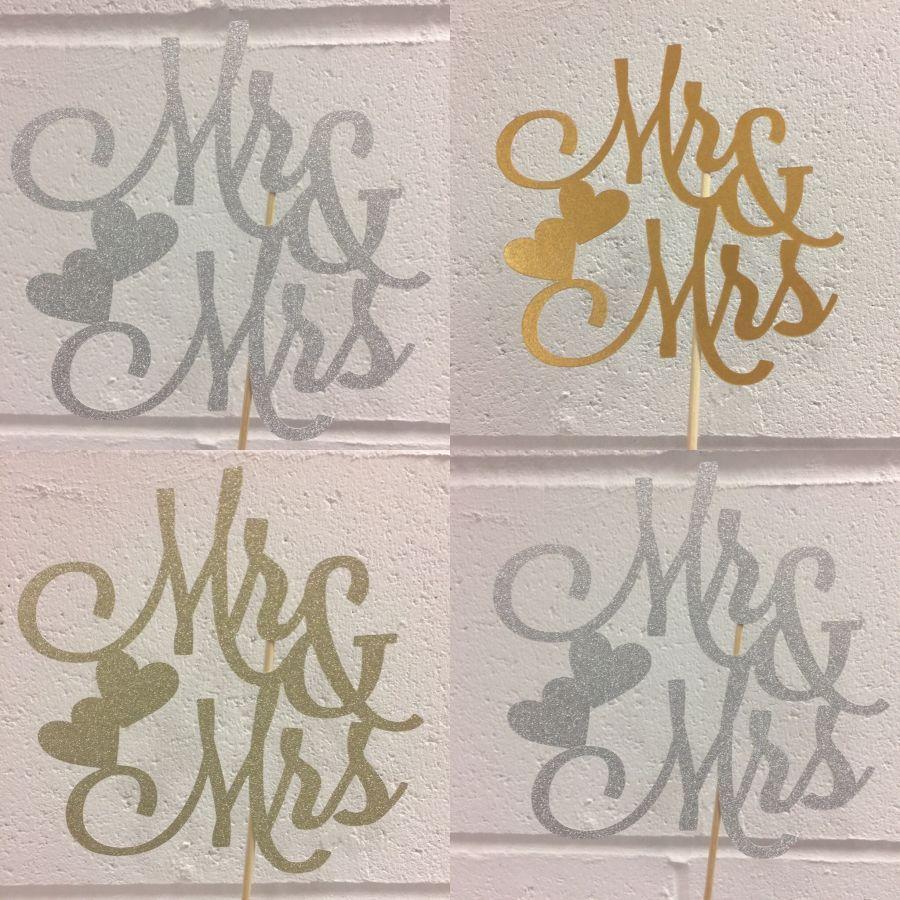 Mr mrs personalised glitter card wedding cake topper
