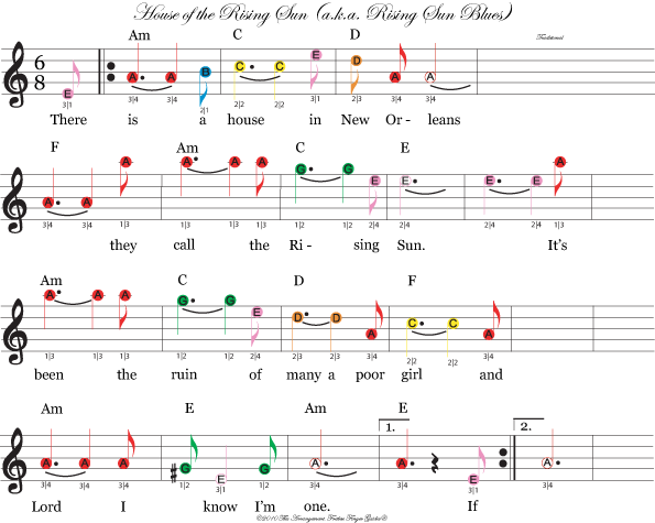 color coded free violin sheet music for house of the rising sun : violin : Pinterest : Sheet ...