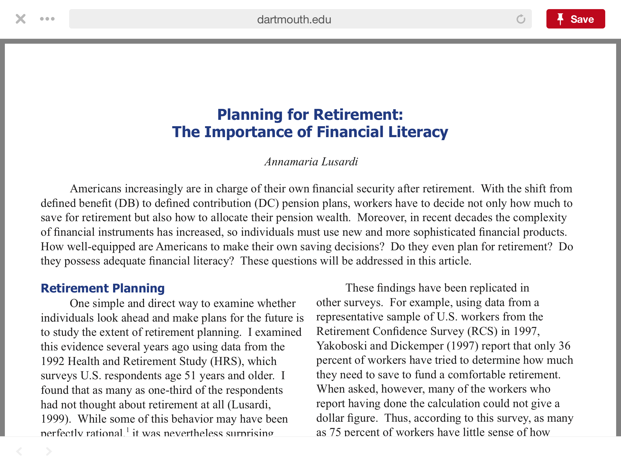 Dartmouth College Retirement Planning Pdf Retirement Planning