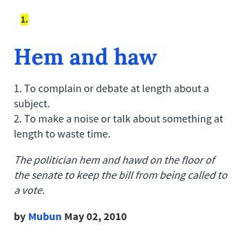 Hem And Haw Meaning Meant To Be Words Haws