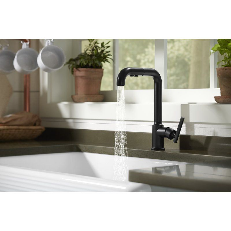 Purist Single Hole Kitchen Sink Faucet With 8 Pullout Spout With Promotion Kitchen Faucet Pull Out Kitchen Faucet Sink Faucets Farmhouse sink with faucet holes