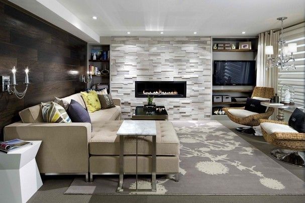 Love the wood flooring on the wall, the stone on the fireplace and the clean lines of the sofa