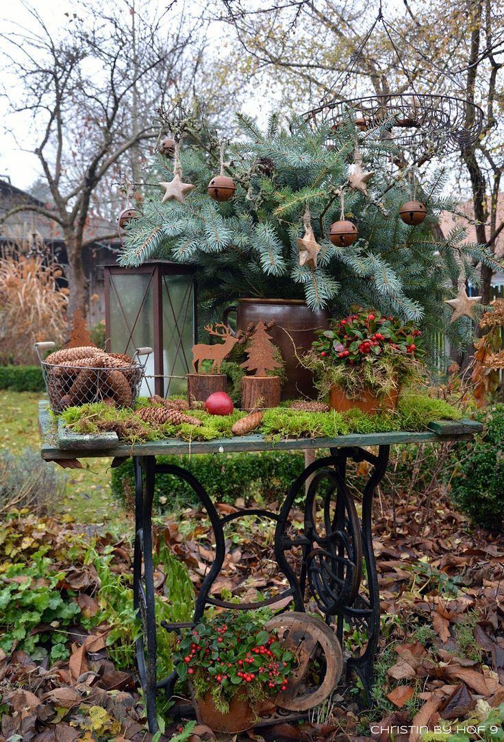 Quaste aus Kiefernadeln natürliche Gartendeko im Winter Weihnachtsdekoration   Deko