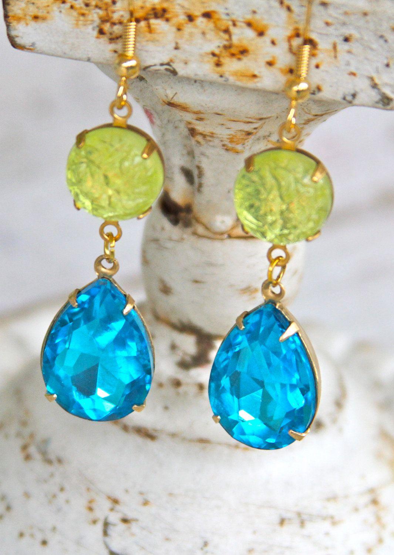 Blue Jewelry Turquoise Earrings Long Earrings CZ Earrings