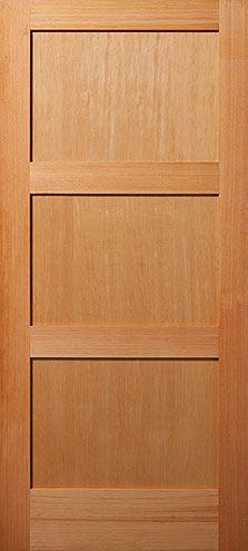 Vertical Grain Douglas Fir Equal 3 Panel Interior Wood Door Wood