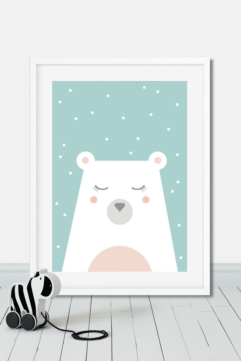 Decoration Chambre Ours Polaire Polar Bear Print Snow And Bear Poster Pastel Tones Nursery