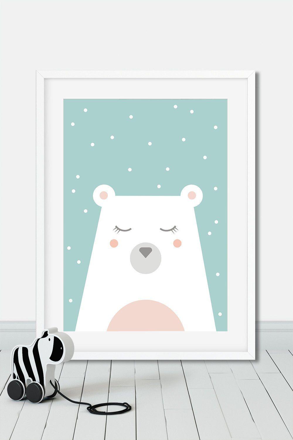 Polar Bear Print Snow And Bear Poster Pastel Tones Nursery