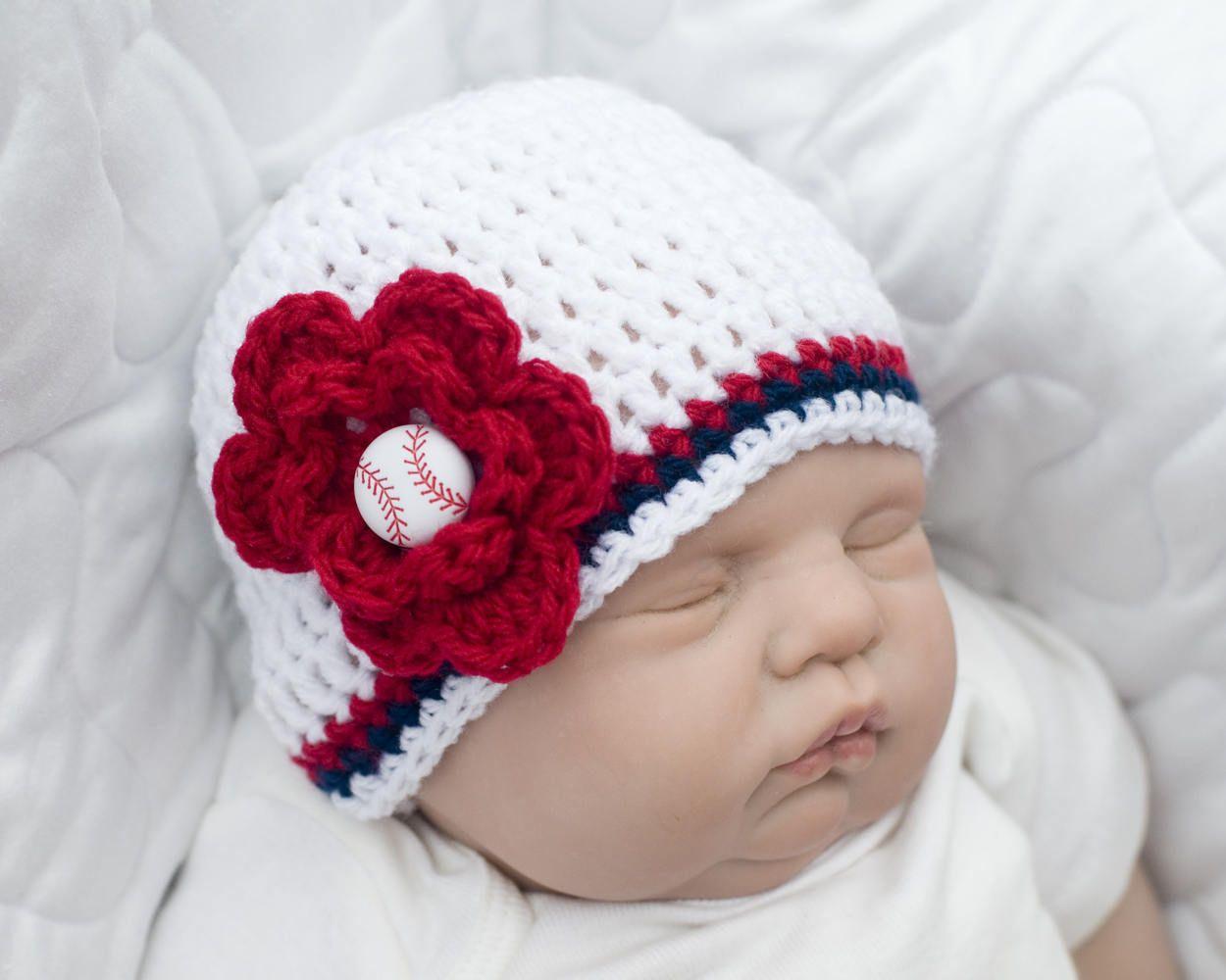 Baby Girl Baseball Crochet Baseball Red White Blue Baby Girl