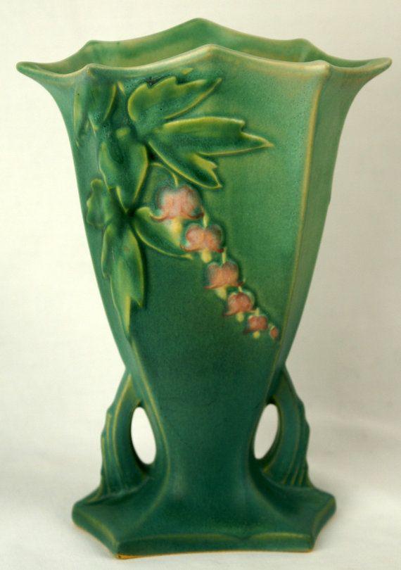 Bleeding Heart Vase Art Deco Lines Vintage Roseville Pottery Green