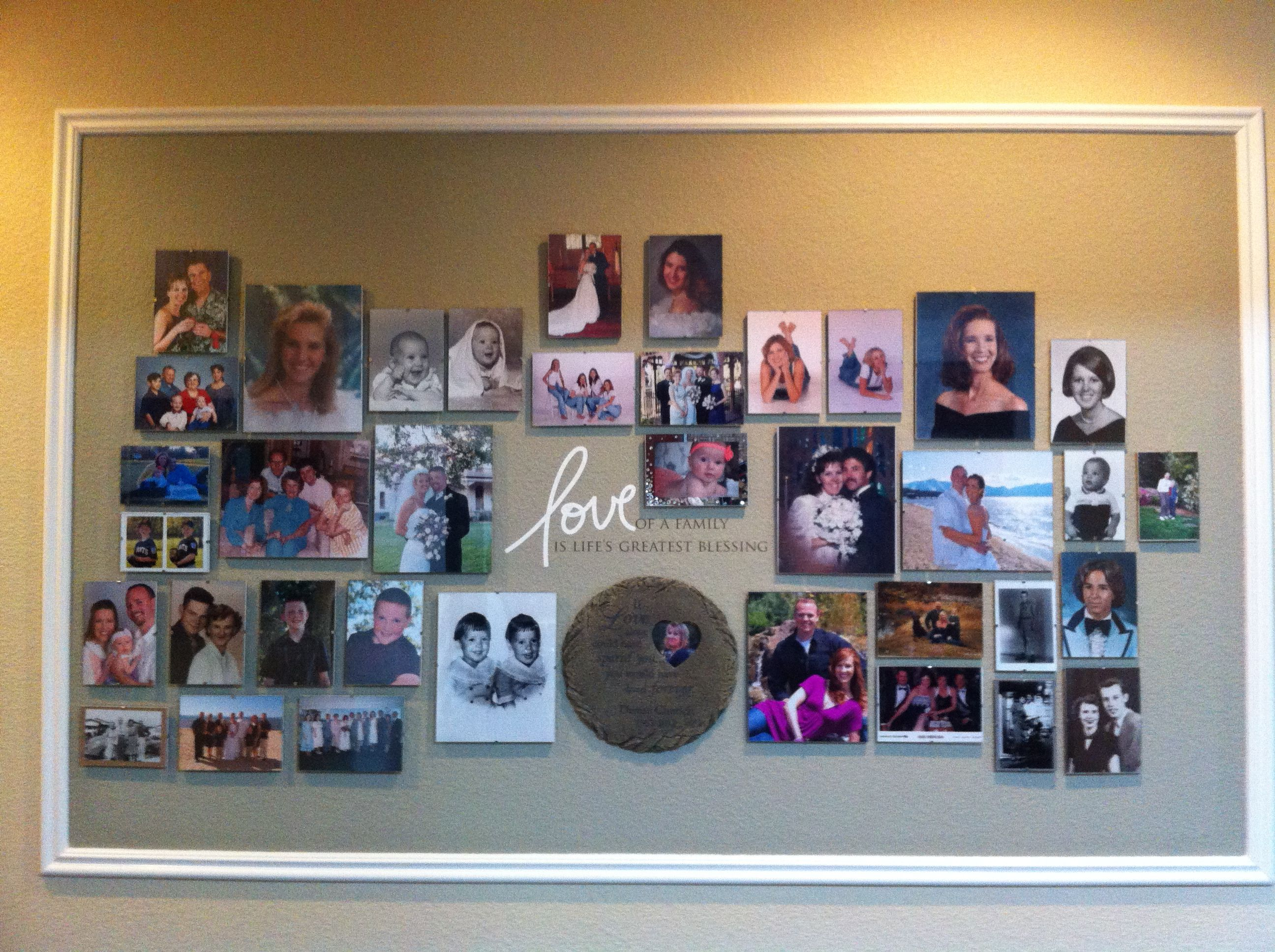 Use Frameless Frames To Create A Family Picture Wall Frame