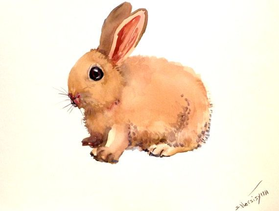 bunny original watercolor painting 9 x 12 in horizontal orientation kids wall - Animal Painting For Kids