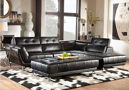 Best Shop For A Novello Black 5 Pc Sectional Living Room At 400 x 300