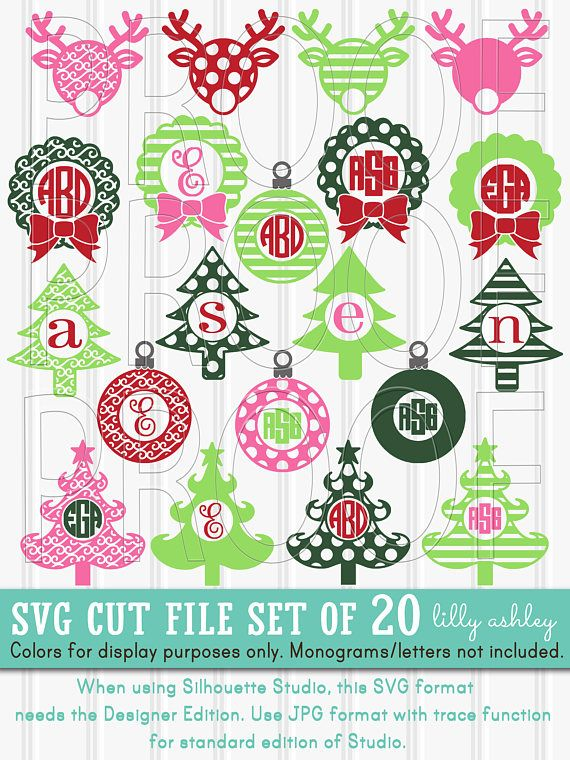 svg cut file set of fun festive mixture of curly trees woodland trees reindeer wreaths and ornaments for christmas