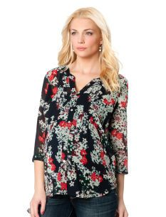 a5d7c21822043 FLORAL PRINTS: Destination Maternity Convertible Sleeve Pleated Maternity  Shirt
