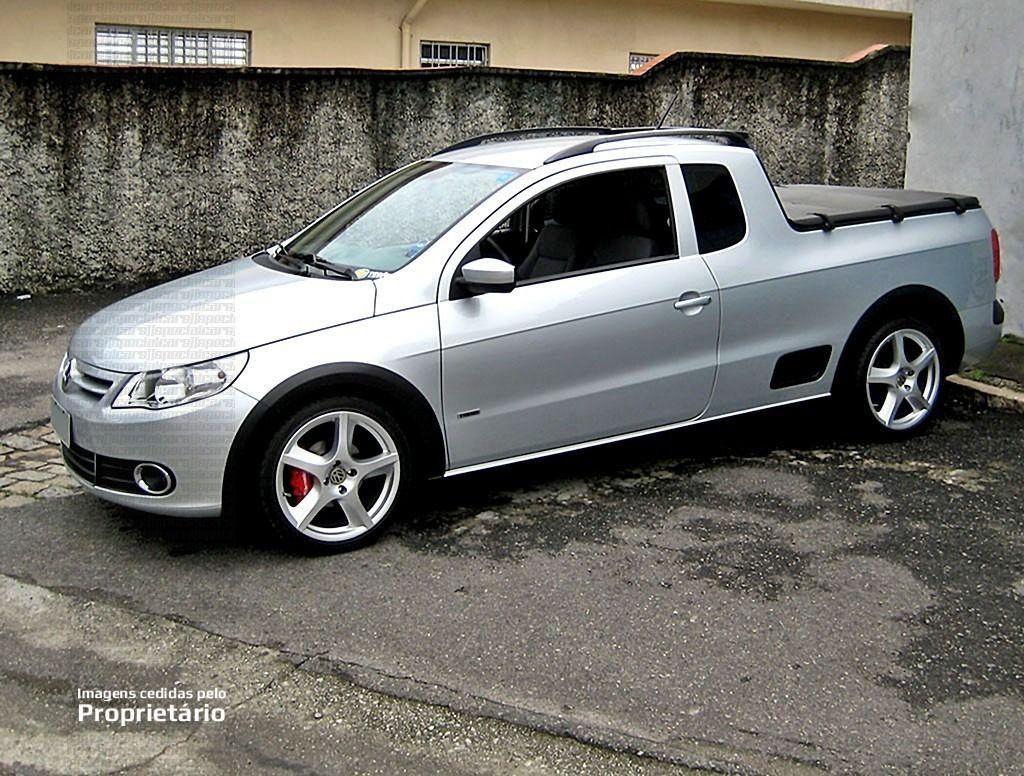Vw saveiro g5 rebaixada prata com rodas aro 17 cayenne turbo pegasus spezia