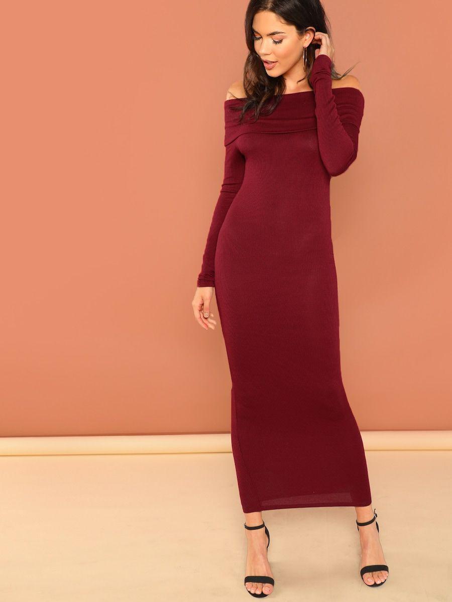 62b0f19be8 Off The Shoulder Rib Knit Long Sleeve Bodycon Dress -SheIn(Sheinside ...