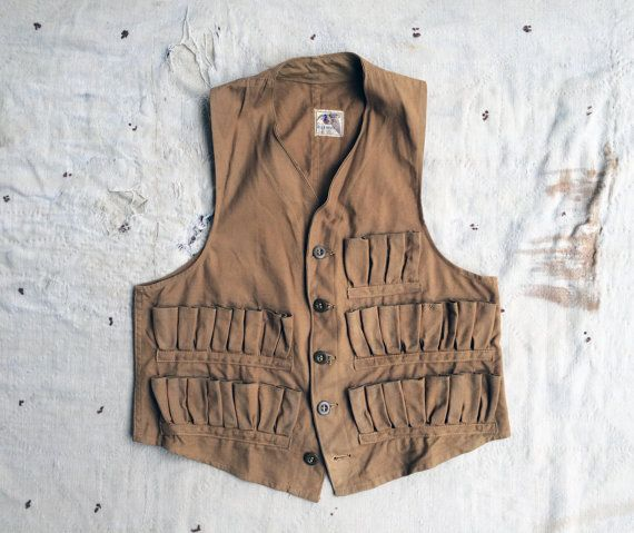 28f06715f5854 1940s Blue Bill by RedHead khaki duck cloth hunting vest by MouseTrapVintage