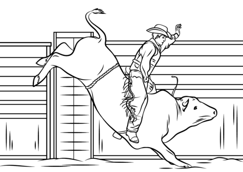 Cowboy Riding A Bull Coloring Page Free Printable Coloring Pages Coloring Pages To Print Horse Coloring Pages Coloring Pages