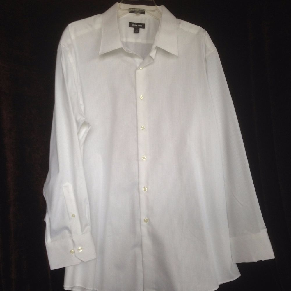Claiborne Easy Care Mens 18 3435 Slim Fit White Long Sleeve Dress