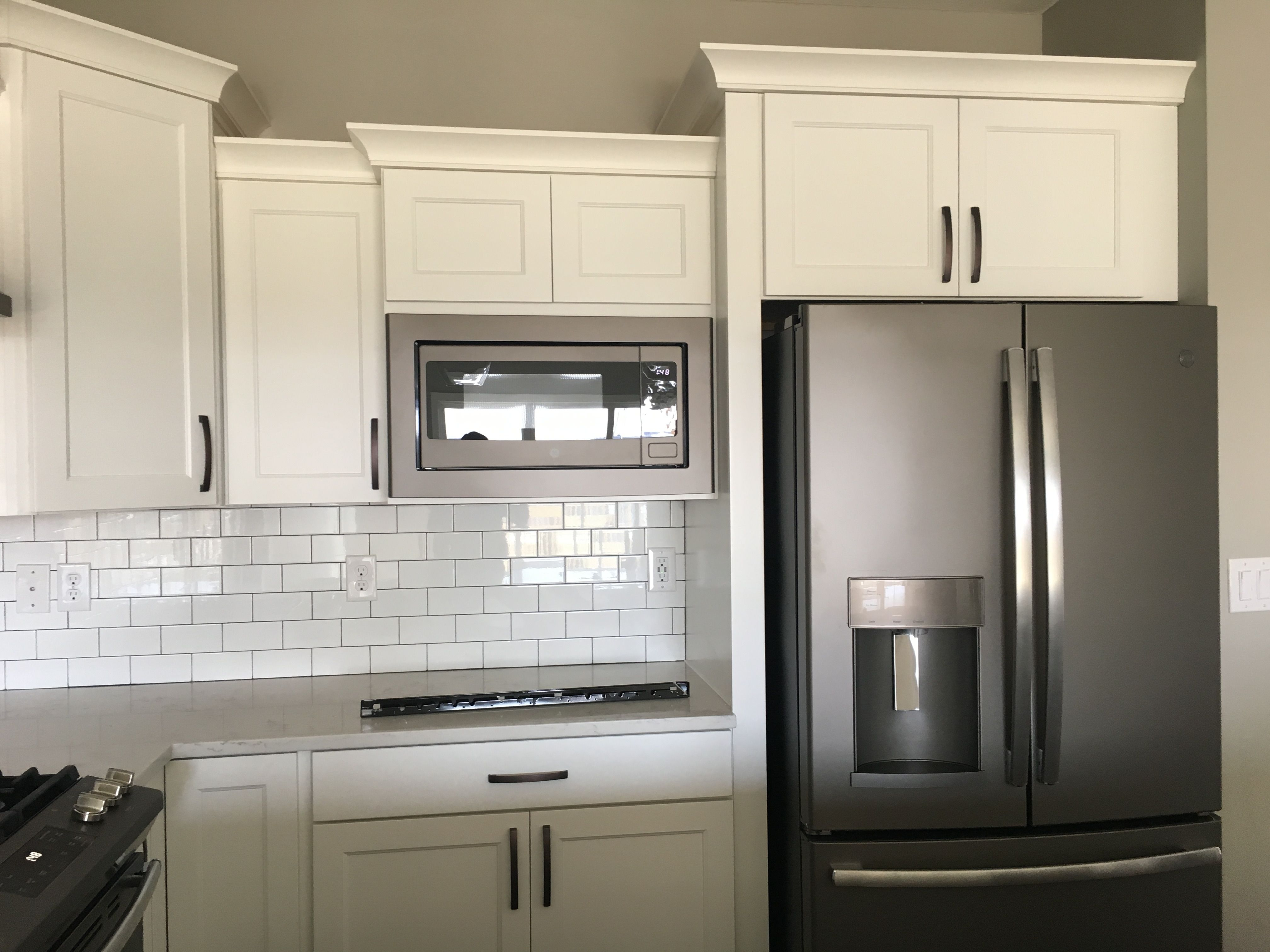 Built In Microwave Next To Refrigerator Slate Finish Appliances