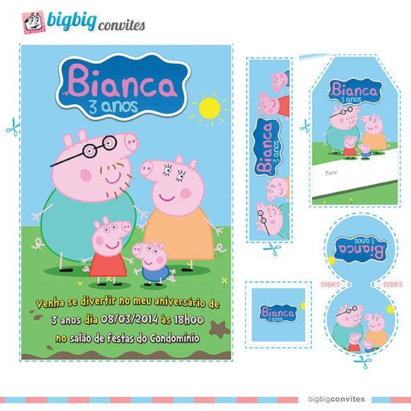 Convite Personalizado Peppa Pig   maria   Pinterest