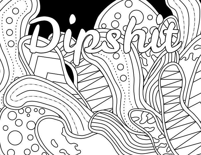 Dipshit - Adult Coloring page - swear 14 FREE printable coloring