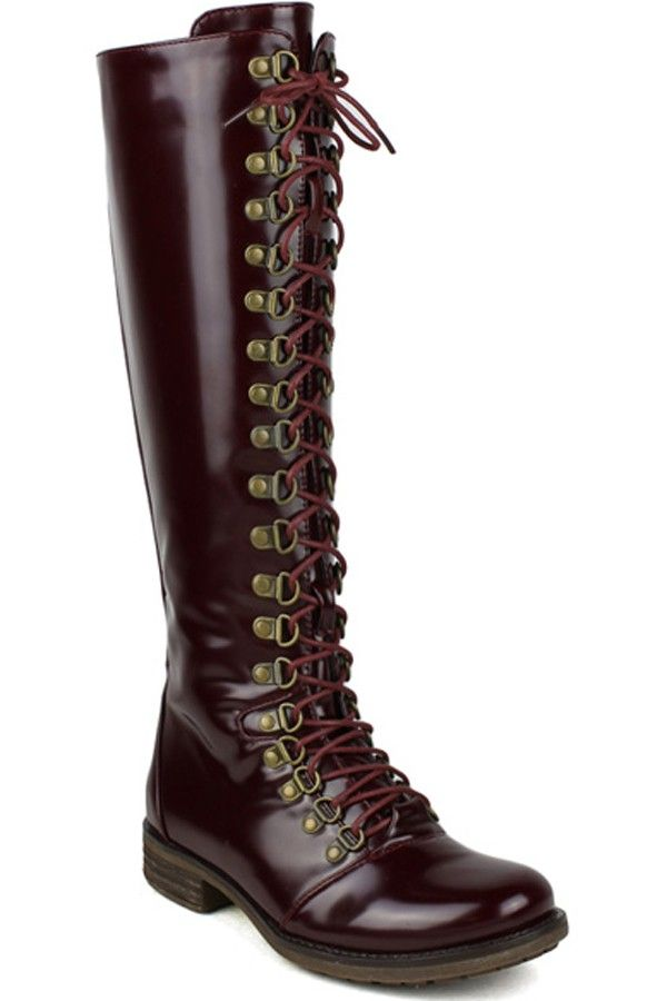 0b5615e9afd BURGUNDY FAUX LEATHER FRONT LACE LOOK KNEE HIGH CASUAL BOOTS