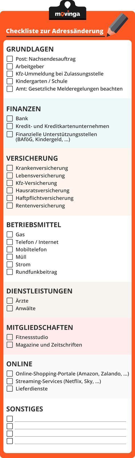 ihre checkliste zur adress nderung beim umzug umzug pinterest. Black Bedroom Furniture Sets. Home Design Ideas