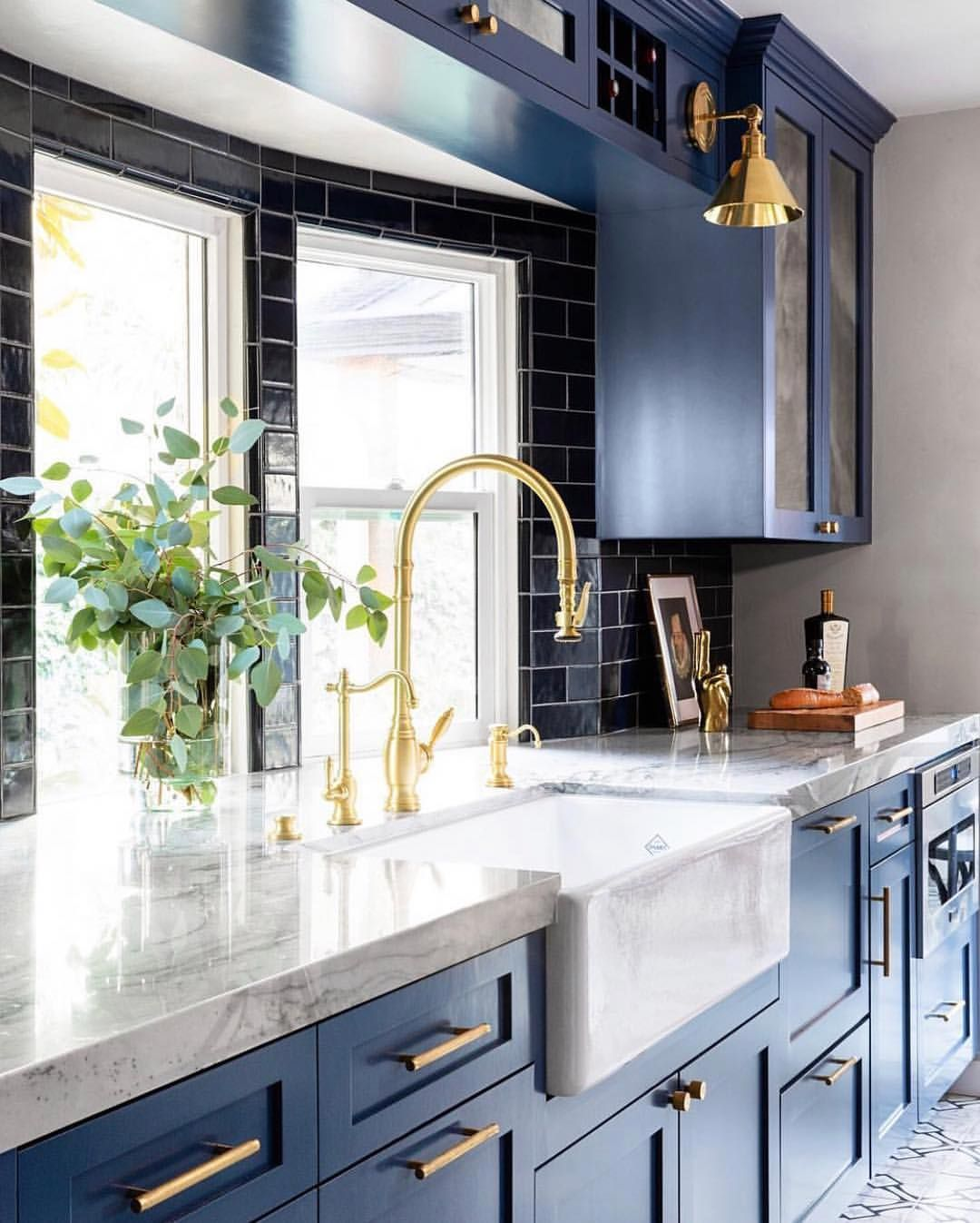 Navy Blue Subway Tile Adding Some Rich Contrast To This Already