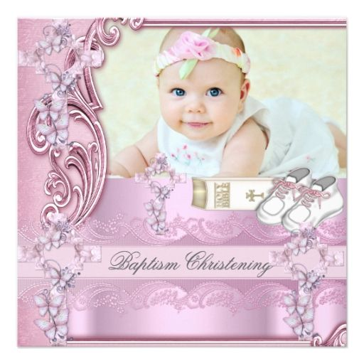 Baptism pink cross girl photo christening invitation baptism shop baptism pink cross girl photo christening card created by zizzago personalize it with photos text or purchase as is stopboris