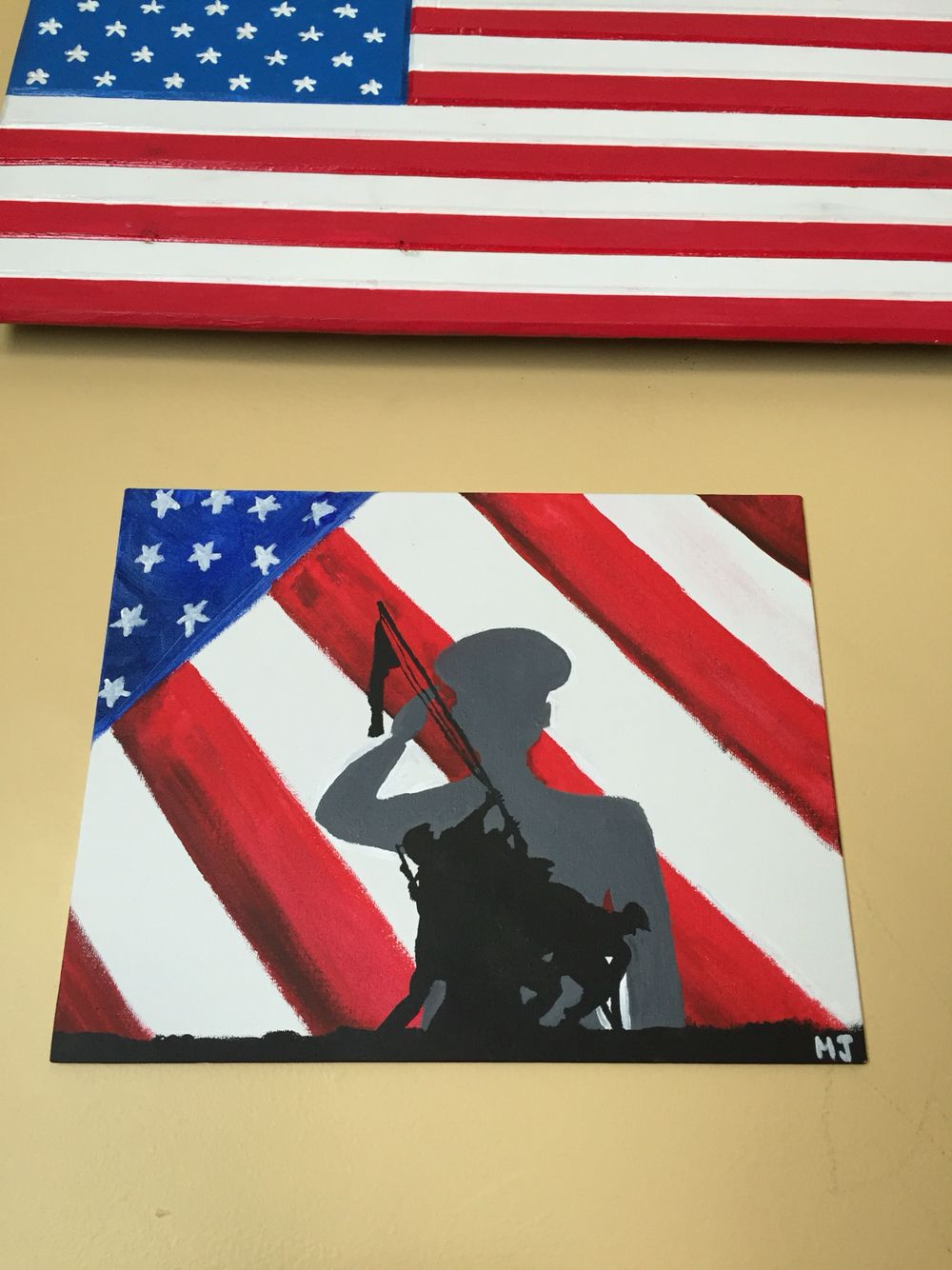 Painted This For My Veteran Marine S Birthday Silhouette Of Iwo