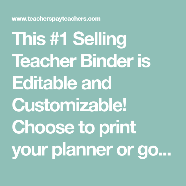 Editable Teacher Binder FREE Updates For Life