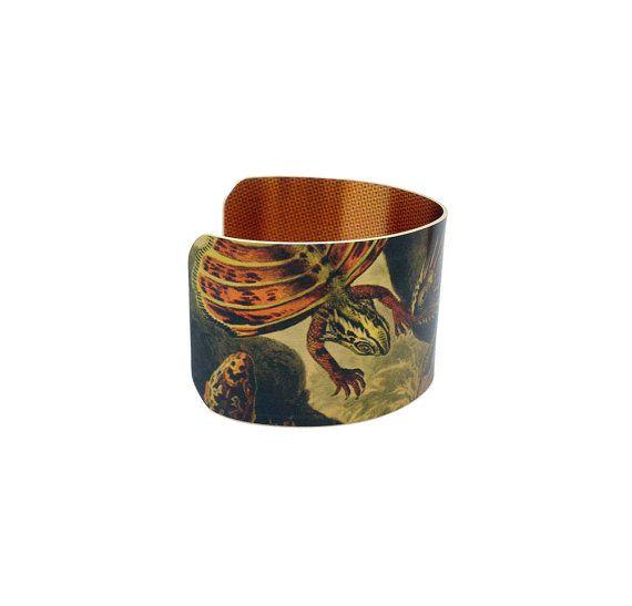 Lizard Art Jewellery - Ernst Haeckel - Brass Cuff Bracelet - Statement Cuff Bracelet - Vintage Art Cuff Bracelet - Sku R10-DS002  with <3 from JDzigner www.jdzigner.com