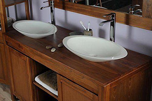 Saniteck france - Meuble salle de bain teck 140 grey naturel - meuble salle de bain pierre naturelle