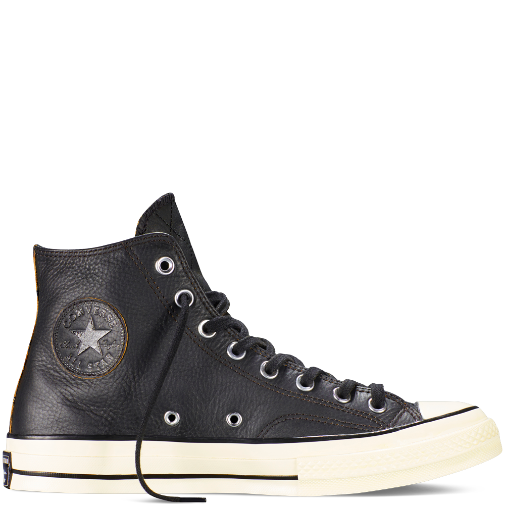 cdbf9a447091 Chuck Taylor All Star  70 Moto Leather black  lack leather silhouette.  White