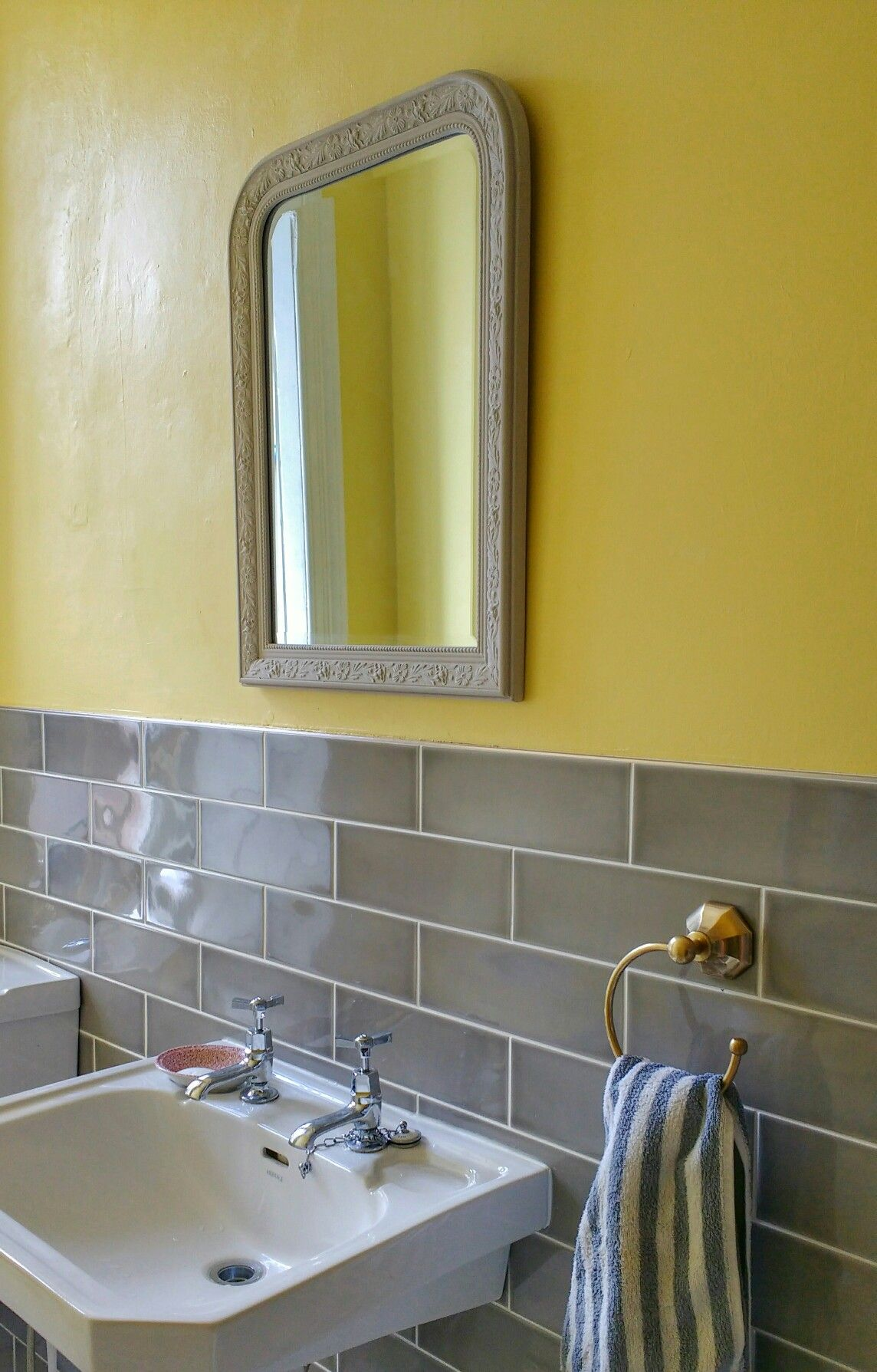 Bathroom Mirrors Glasgow our new glasgow tenement bathroom: grey subway tiles, yellow walls