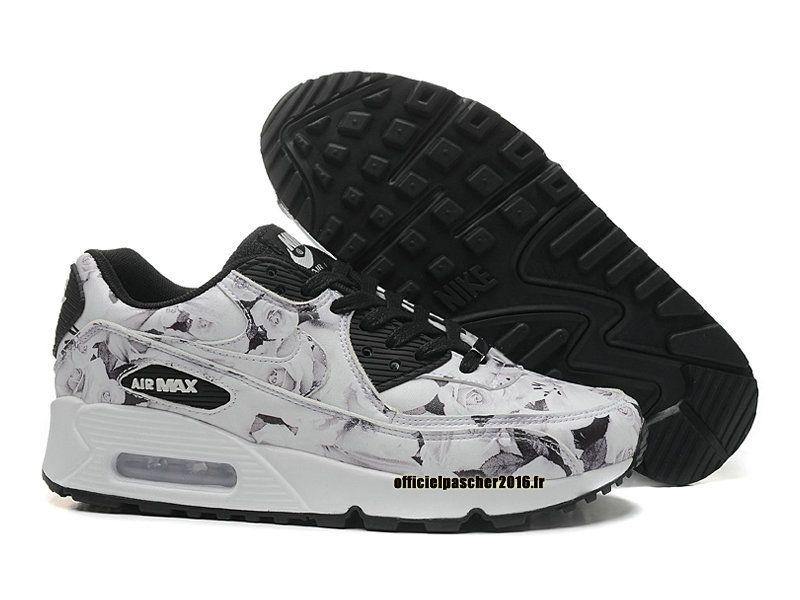 huge discount 64031 8bacc Officiel Nike Air Max 90 ID Série Ville Chaussure Nike 2016 Pas Cher Pour  Femme Noir - Blanc